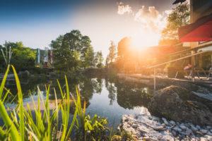 Gartenanlage Hotel Berghof mit Teich